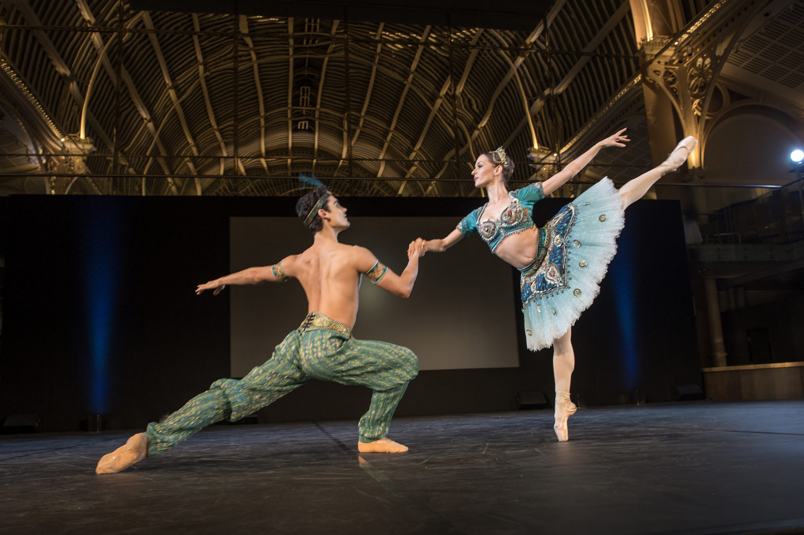 "Daniel McCormick and Katja Khaniuoka of English National Ballet perform an excerpt from the playful ""Le Corsaire"""